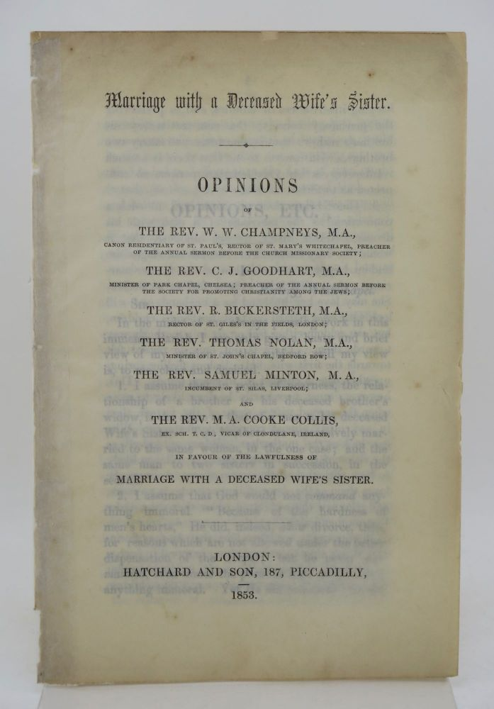 Marriage with a deceased wife's sister. Robert BICKERSTETH, bishop of Ripon.