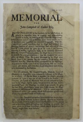 "Broadside. Begins: ""Memorial for John Campbell of Calder Esq."" Pollock vs. the Thane of Cawdor"