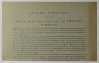 National Association for the Protection of the Insane and the Prevention of Insanity. National...