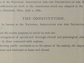 National Association for the Protection of the Insane and the Prevention of Insanity.